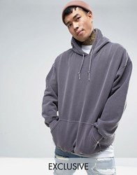 Reclaimed Vintage Oversized Hoodie In Grey Overdye Grey