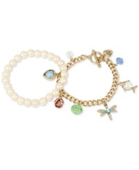 Betsey Johnson Gold Tone 2 Pc. Set Imitation Pearl And Dragon Fly Charm Bracelets Multi