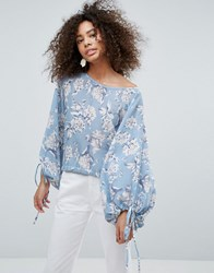 Traffic People Floral Top With Tie Detail Blue