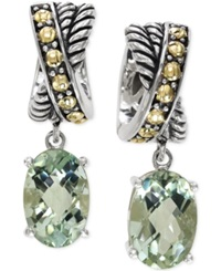 Effy Collection Effy Green Amethyst Earrings In 18K Gold And Sterling Silver 7 2 3 Ct. T.W.