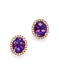 Bloomingdale's Amethyst Oval And Diamond Earrings In 14K Rose Gold Purple Rose