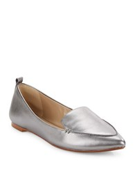 424 Fifth Catriona Leather Loafers Silver