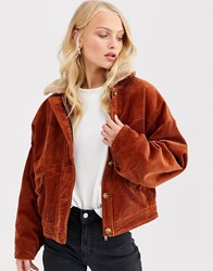 Only Cropped Cord Jacket With Faux Fur Collar Brown
