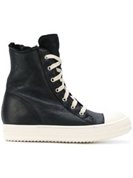 Rick Owens Hi Top Sneakers Women Leather Sheep Skin Shearling Rubber 38.5 Black