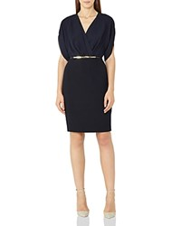 Reiss Lyon Faux Wrap Dress Night Navy