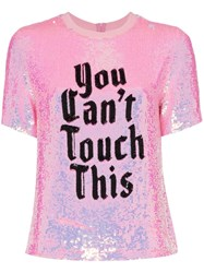 Ashish X Browns You Can't Touch This Sequin T Shirt Pink