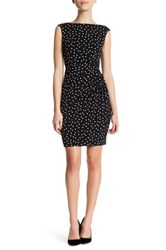 London Times Polka Dot Side Ruched Dress Petite Black