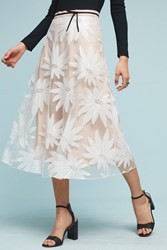 Anthropologie Floral Lace Midi Skirt Pink
