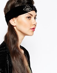 Monki Embellished Velvet Headband Black