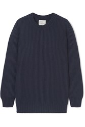 Hillier Bartley Ribbed Cashmere Sweater Navy