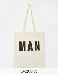 Reclaimed Vintage Man Tote Bag Beige
