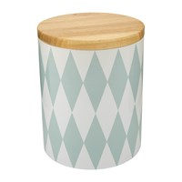 Bloomingville Jar With Bamboo Lid Diamond On White Blue