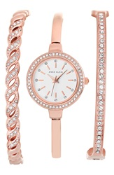Anne Klein Crystal Bezel Watch And Bangle Set 24Mm Rose Gold