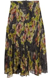 Isabel Marant Rebel Crinkled Silk Chiffon Midi Skirt Black