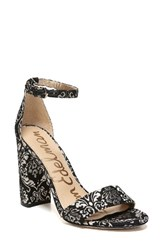 Sam Edelman Women's Yaro Ankle Strap Sandal Black Gold Jacquard Canvas