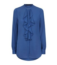 Reiss Pippin Ruffle Front Shirt Female Blue