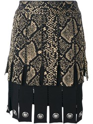 Fausto Puglisi Snake Print Effect Pleated Skirt Black