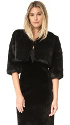 Adrienne Landau Little Fur Jacket Black