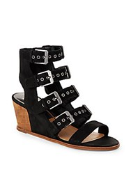 Dolce Vita Laken Leather Wedge Cage Sandals Black