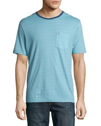 Penguin Medallion Print Cotton Contrast Pocket Jersey Tee Delphinium Blue