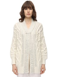 Ermanno Scervino Oversized Wool Blend Knit Cardigan Ivory
