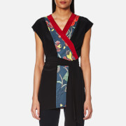 Diane Von Furstenberg Women's Sleeveless Wrap Kimono Top Ampere Indigo Black Red Des Blue
