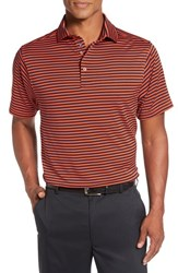 Bobby Jones Men's 'Feed Stripe Xh20' Stretch Golf Polo Orange Tango