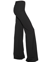 Maurizio Pecoraro Bell Bottom Wool Crepe Pants Black