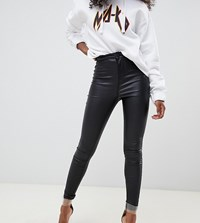 Noisy May Petite Coated Skinny Jeans Black