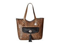 American West Annie's Secret Collection Large Zip Top Tote Distressed Charcoal Brown Black Hair Tote Handbags
