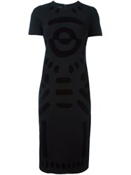 Mcq By Alexander Mcqueen Tribal Markings Flock Dress Black