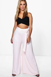 Boohoo Lizzie Wide Leg Tie Front Pant Blush
