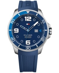 Tommy Hilfiger Men's Cool Sport Blue Rubber Strap Watch 46Mm 1791156