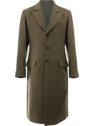 Yohji Yamamoto Single Breasted Coat Men Cotton Cupro Wool 3 Green