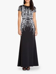 Adrianna Papell Beaded Mermaid Gown Black Ivory