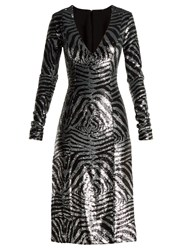 Halpern Zebra Pattern Sequinned Dress Blue Multi