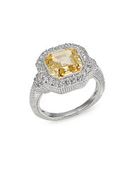 Judith Ripka Canary Crystal And Sterling Silver Ring Yellow
