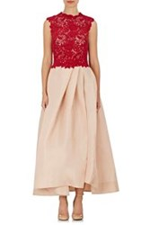 Monique Lhuillier Guipure Lace And Gazar Gown Red