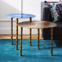 Cb2 2 Piece Bronze And Atol Bamboo Bunching Side Table Set