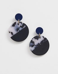 Ny Lon Nylon Colourblock Resin Circular Earrings Multi