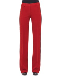 Akris Punto Wide Leg Pants W Contrast Stripe Cherry Red