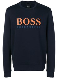 Hugo Boss Logo Print Sweatshirt Blue