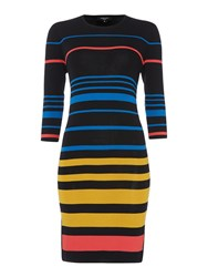 Therapy Nori Sheer Insert Multi Stripe Dress Black Multi