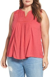 Lucky Brand Plus Size Women's Embroidered Pintuck Tank Raspberry Wine