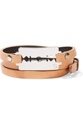 Mcq By Alexander Mcqueen Textured Leather Wrap Bracelet Orange