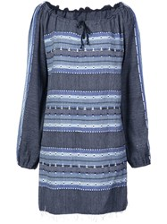 Lemlem Striped Drawstring Neck Dress Blue