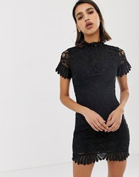 Girl In Mind Short Sleeve High Neck Lace Mini Dress Black