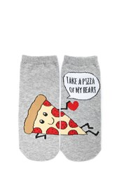 Forever 21 Take A Pizza Of My Heart Socks Grey Multi