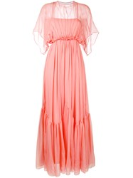 N 21 No21 Long Draped Pleat Dress Women Silk 40 Yellow Orange