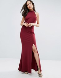 Club L Halter High Neck Backless Maxi Dress With Thigh Split Berry Red